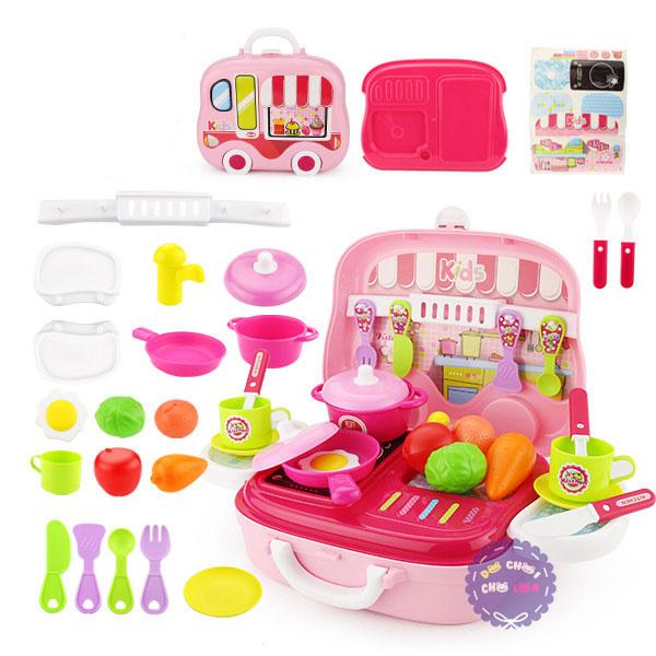 Hộp đồ chơi vali bếp ga & dụng cụ nấu ăn hình ô tô 26 món
