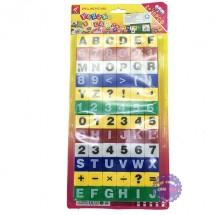 Vỉ đồ chơi xếp hình học chữ và số 72 mảnh bằng nhựa