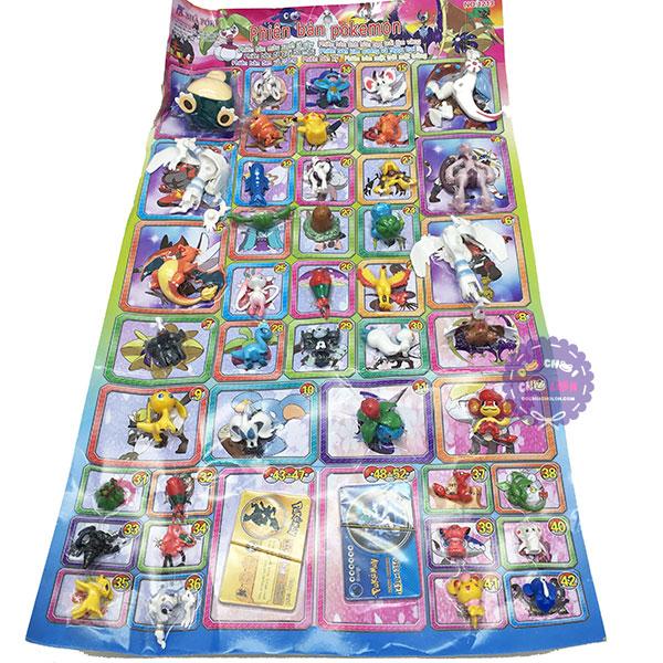 Vỉ đồ chơi mô hình Pokemon bằng nhựa 42 con nhiều size