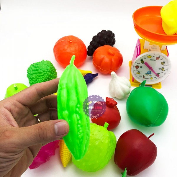 Bộ đồ chơi các loại trái cây & cân đồng hồ bằng nhựa Vĩnh Phát