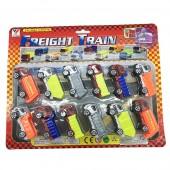 Vỉ đồ chơi 12 xe ben, xe đổ rác Freight Train chạy trớn