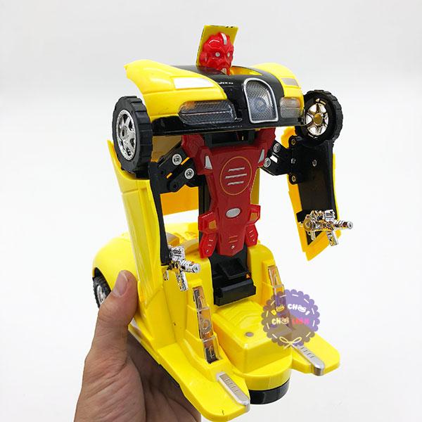 Hộp đồ chơi xe Bugatti biến hình Robot chạy pin có đèn nhạc 0906-41