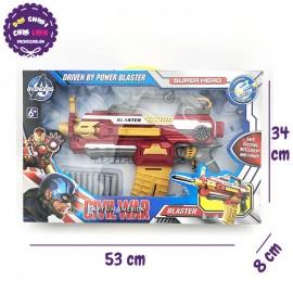 Hộp đồ chơi súng bắn đạn xốp có BĂNG ĐẠN người Sắt SB381