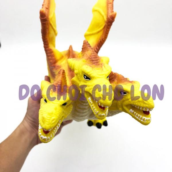 Đồ chơi rồng vàng 3 đầu có cánh bằng cao su dùng pin JX106-2A