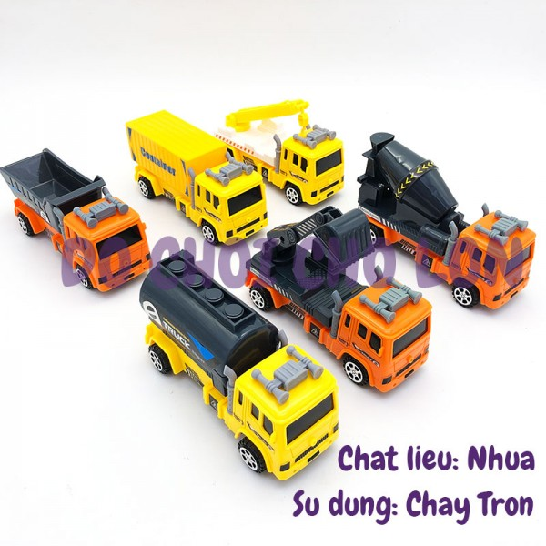 Hộp đồ chơi 6 xe công trình bằng nhựa chạy trớn 11809