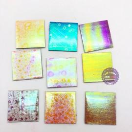 Bộ 100 giấy xếp hạc ánh kim nhiều màu có hoa văn size 7x7cm
