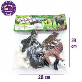 Bộ 6 con thú rừng đại: sư tử, gấu, voi, khỉ Jungle Animal Y167