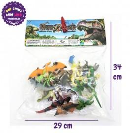 Bộ 12 con khủng long màu và cây bằng nhựa Dinosaur 0577-20