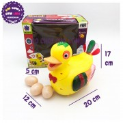 Hộp đồ chơi vịt đẻ trứng chạy pin có nhạc đèn 20218