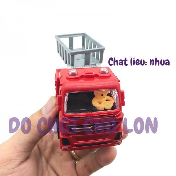 Đồ chơi xe thang cứu hỏa mini bằng nhựa chạy trớn 8814