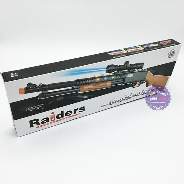 Hộp đồ chơi súng shotgun Raiders dùng pin có đèn nhạc