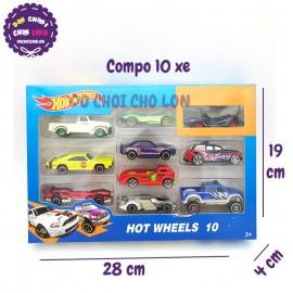 Hộp đồ chơi các loại xe hơi bằng sắt 10 chiếc Hot Wheels 1604