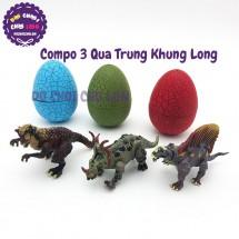 Bộ đồ chơi bóc trứng khủng long 3 quả nở con lắp ráp YC13