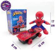 Hộp đồ chơi người nhện trượt ván lật 360 độ có đèn nhạc 169-112