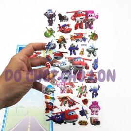 Hình dán sticker nổi 3D hình đội bay siêu đẳng Super Wings