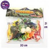 Bộ 12 con khủng long màu + 2 cây + 2 trứng bằng nhựa HJ468-1