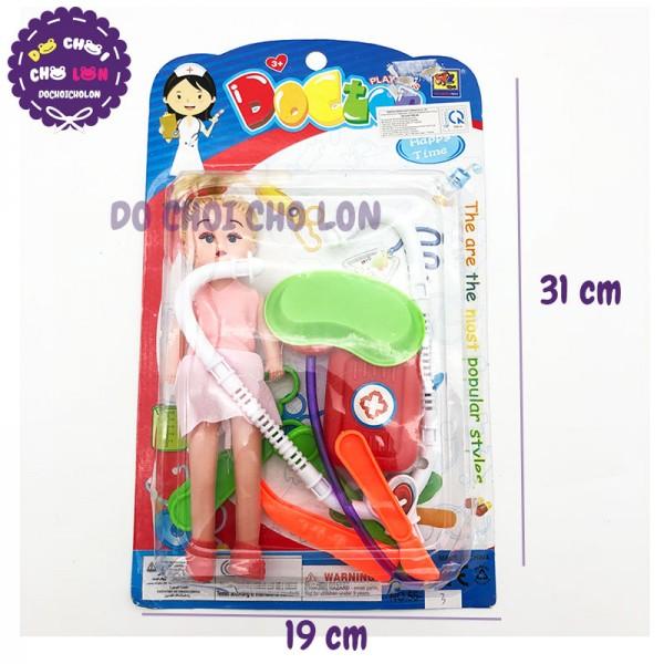 Vỉ đồ chơi bác sĩ 6 món dụng cụ y tế + Búp Bê Nhí 55-3