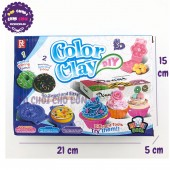 Hộp đồ chơi làm bánh kem bằng đất sét nặn 6 màu & khuôn 728B2