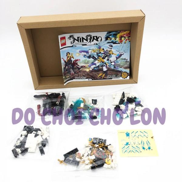 Hộp đồ chơi lắp ráp Ninja rồng TÍM 2 đầu 235 miếng SX3009-3