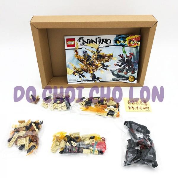 Hộp đồ chơi lắp ráp Ninja rồng VÀNG 2 đầu 241 miếng SX3009-1