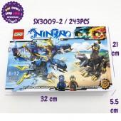 Hộp đồ chơi lắp ráp Ninja rồng XANH DƯƠNG 2 đầu 243 miếng SX3009-2