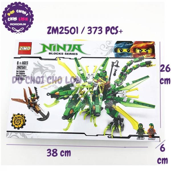 Hộp đồ chơi lắp ráp Ninja rồng 3 đầu XANH LÁ ZIMO 373 miếng ZM2501