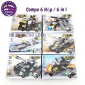 Bộ 6 hộp lắp ráp xe, máy bay, tàu chiến 6 in 1 Battle Military 123-60