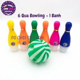 Bộ đồ chơi bowling 6 trái màu bóng nhựa loại nhỏ