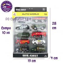 Bộ 10 xe cứu hỏa, cảnh sát, quân sự bằng sắt Auto World DS892