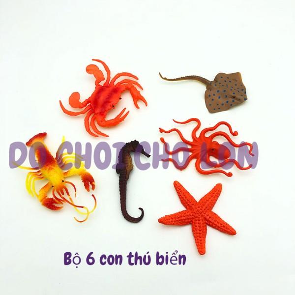 Bộ 6 con sinh vật biển: cá ngựa, cá đuối Ocean Kingdom 999H-02