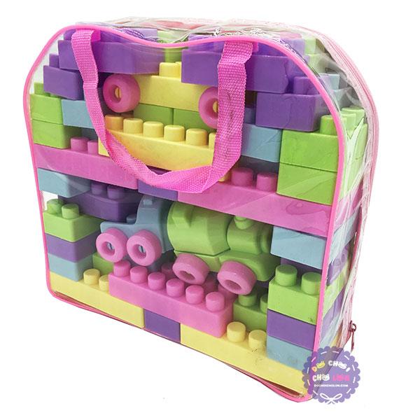 Giỏ đồ chơi lắp ráp xe lửa 53 mảnh ghép