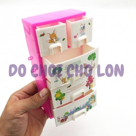 Bộ đồ chơi tủ quần áo 4 tầng + trang sức cho bé bằng nhựa