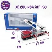 Xe mô hình cứu hỏa THANG CẦN TRỤC bằng sắt 1:50 KDW 625014