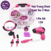 Hộp đồ chơi vali trang điểm làm tóc 9 món dùng pin BJ1305