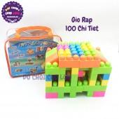 Giỏ đồ chơi lắp ráp, xếp hình 100 mảnh ghép bằng nhựa FX8015