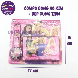 Vỉ đồ chơi đồng hồ kim và bóp đựng tiền hình Barbie M301-18
