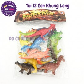 Bộ 12 con khủng long màu đủ mẫu bằng nhựa Dinosaur Q603C