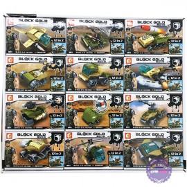 Bộ 12 hộp đồ chơi lắp ráp xe máy bay Block Gold 115