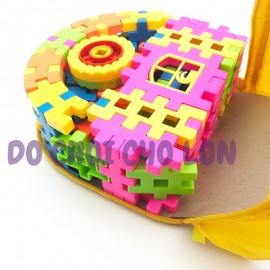 Cặp đồ chơi lắp ráp bánh xe 60 mảnh ghép bằng nhựa FX225