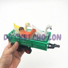 Đồ chơi xe đầu kéo chở gà vịt bằng nhựa chạy trớn 1035-13