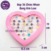 Hộp đồ chơi 36 chiếc nhẫn bằng kim loại cho bé hình trái tim
