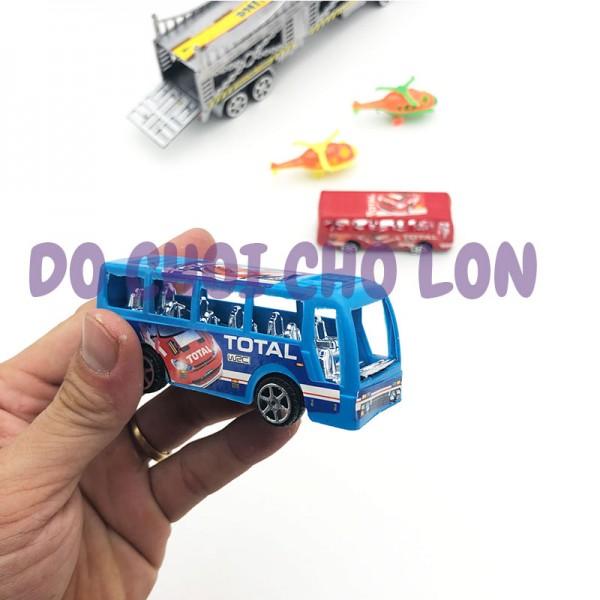 Đồ chơi xe tải đầu kéo 2 tầng chở xe hơi bằng nhựa chạy trớn 809-1