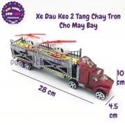 Đồ chơi xe tải đầu kéo 2 tầng chở máy bay bằng nhựa chạy trớn 809-3