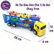 Đồ chơi xe tải đầu kéo 2 tầng chở 5 xe hơi bằng nhựa chạy trớn 0505-2