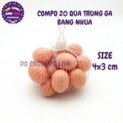 Bộ đồ chơi 20 quả trứng gà bằng nhựa túi lưới SIZE 4x3 cm