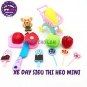 Bộ đồ chơi xe đẩy siêu thị HEO mini chở kem bằng nhựa