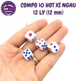 Bộ 10 hột xúc xắc lắc xí ngầu 12 LY (12 mm)