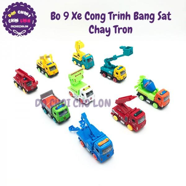 Bộ 9 xe công trình đủ mẫu bằng sắt chạy trớn 6012