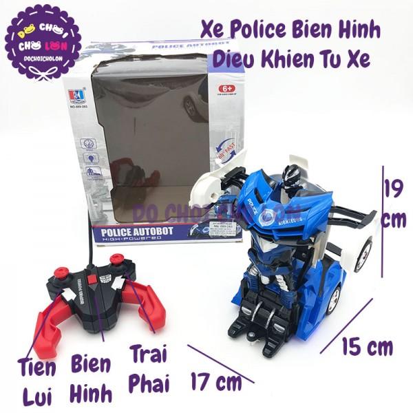 Hộp đồ chơi xe cảnh sát biến hình điều khiển từ xa pin sạc 689-283