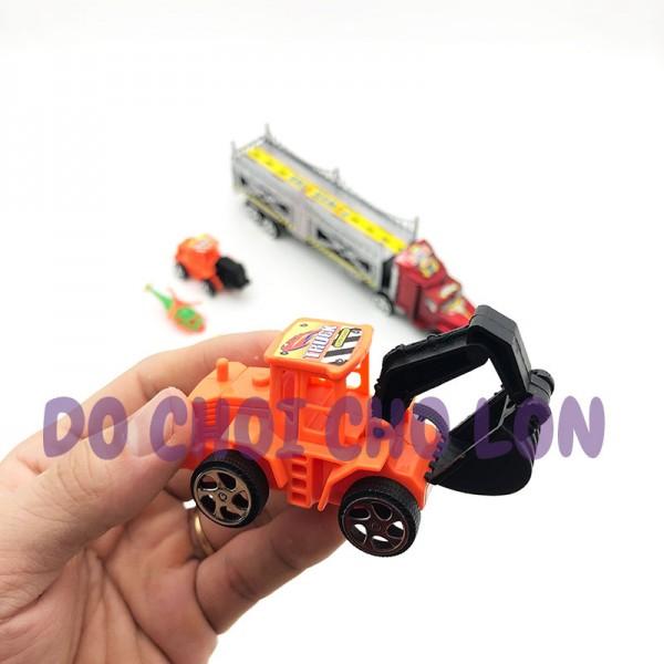 Đồ chơi xe tải đầu kéo 2 tầng chở xe CÔNG TRÌNH bằng nhựa chạy trớn 809-2